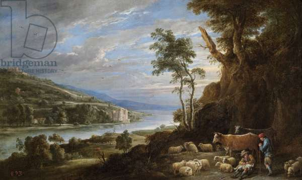 Landscape with shepherds and a distant view of a castle (oil on canvas)