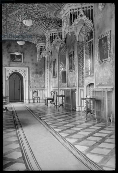 An interior view of Strawberry Hill house, showing the Gallery on the first floor, c.1955-c.1980 (b/w photo)
