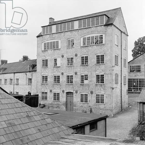 Exterior view of a wool mill, Nailsworth, Gloucestershire, UK, 1956 (b/w photo)