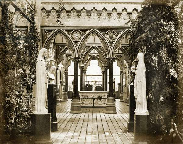 The entrance to the Medieval Vestibule c.1859 (b/w photo)