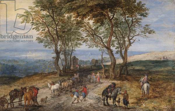 Country Road Scene with Figures: A Man Praying at a Shrine, c.1610 (oil on copper)