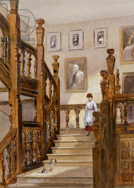 North stairs, Audley End House, late 19th century (w/c on paper)