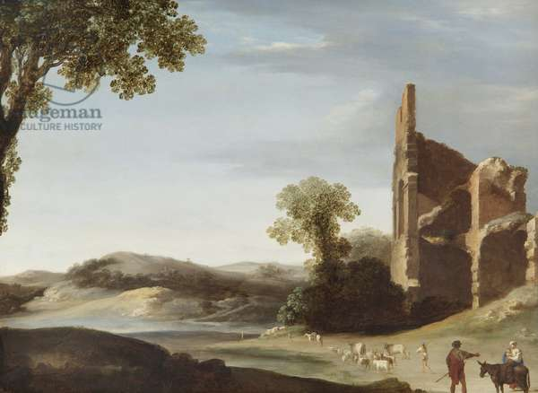 Landscape with Classical Ruins and Figures, c.1630 (oil on copper)