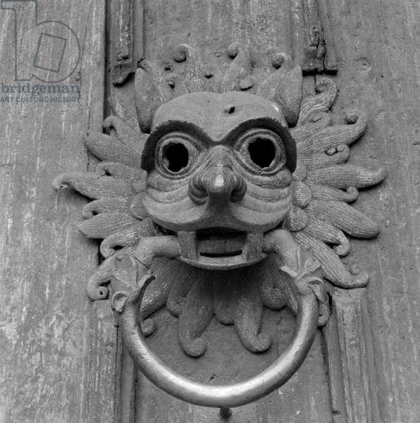 Durham Cathedral door knocker (b/w photo)