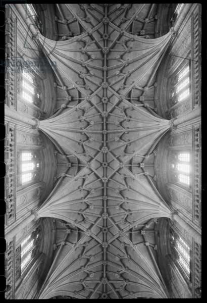 Interior view of the cathedral, focussing on the nave ceiling and likely to have been taken from the ground, Winchester Cathedral, Winchester, Hampshire, UK, c. 1955-c.1980 (b/w photo)