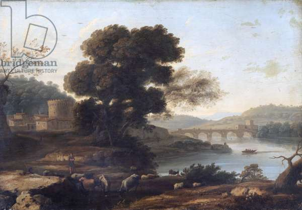 Pastoral Landscape with the Ponte Molle, Rome (oil on canvas)