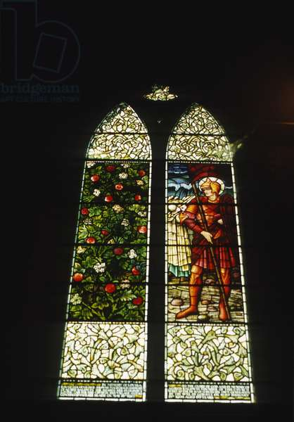 Detail of a stained glass window, made by Morris & Co., 1902-14 (photo)