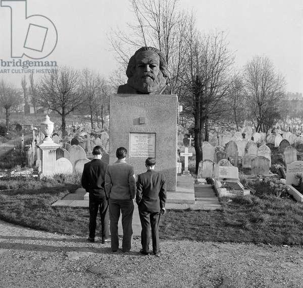 Tomb of Karl Marx, Highgate Cemetery, Hampstead, London, c.1970s (b/w photo)