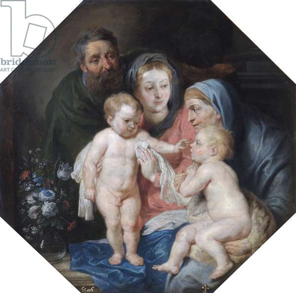 The Holy Family With St Elizabeth And St John (oil on copper)