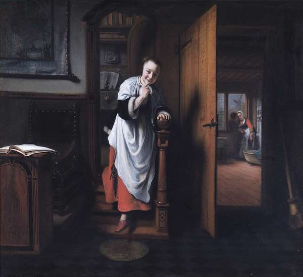 The Eavesdropper, 1655-59 (oil on canvas)