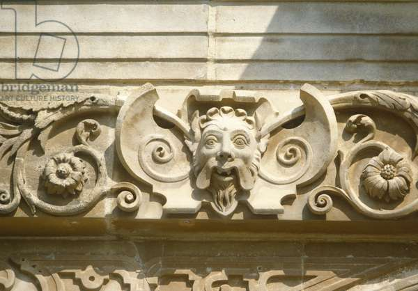 Detail of the porch, west front, Audley End, Essex (photo)