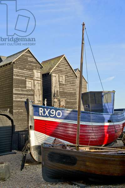 Fishing boat and 'net shops', Hastings (photo)