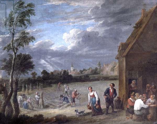A Harvest Scene (oil on canvas)