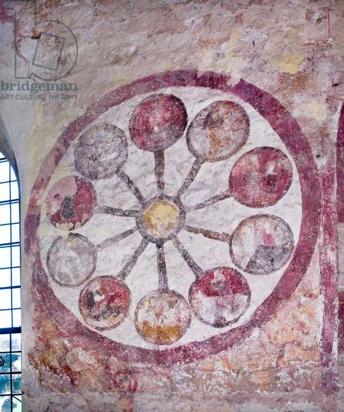 Detail view of a wall painting showing a circular 'Wheel of Life' with a series of spokes representing the ten ages of man, on the north side of the nave (fresco)