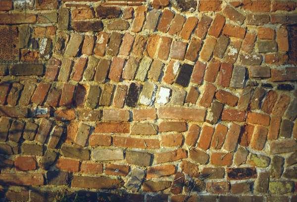 Detail of random brickwork on outbuilding, Old Rectory, Burnham Market, Norfolk (photo)