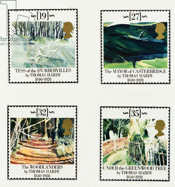 Thomas Hardy (1840-1928) artwork for stamps (acylic and oil on paper)