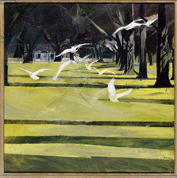 Chestnut Walk with Birds, 1998 (oil on board)