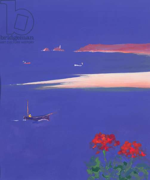 Godrevy and Blue Boat, 1999 (gouache)