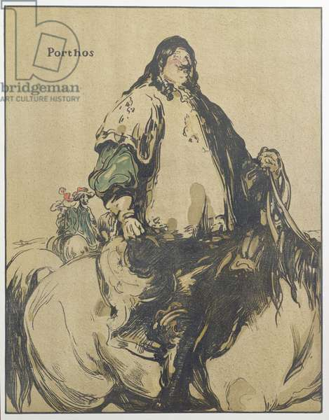 Porthos, illustration from 'Characters of Romance', first published 1900 (colour litho)