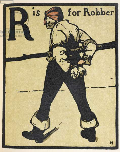 R is for Robber, illustration from 'An Alphabet', published by William Heinemann, 1898 (hand-coloured woodcut)