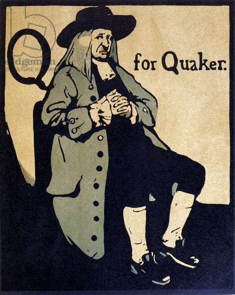Q for Quaker, illustration from 'An Alphabet', published by William Heinemann, 1898 (hand-coloured woodcut)