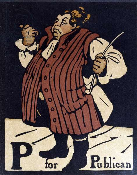 P for Publican, illustration from 'An Alphabet', published by William Heinemann, 1898 (hand-coloured woodcut)