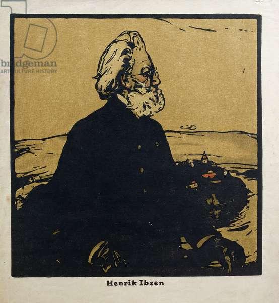 Henrik Ibsen (1828-1906) illustration from 'Twelve Portraits', published 1899 (hand-coloured woodblock)