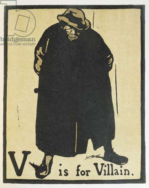 V is for Villain, illustration from 'An Alphabet', pub. 1898 (hand-coloured woodcut)