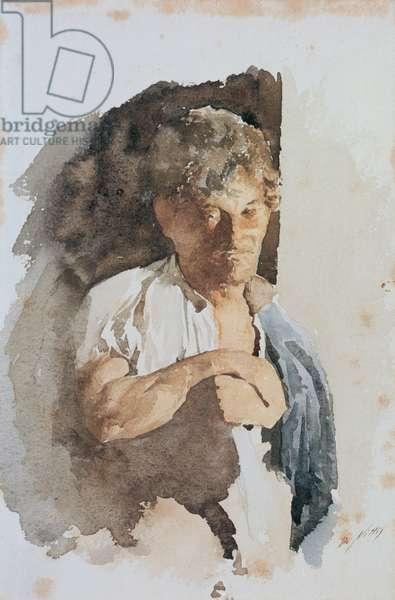 Study of Man (Studio di uomo), by Giuseppe De Nittis, 1872, 19th Century, watercolor on paper, 26 x 16 cm