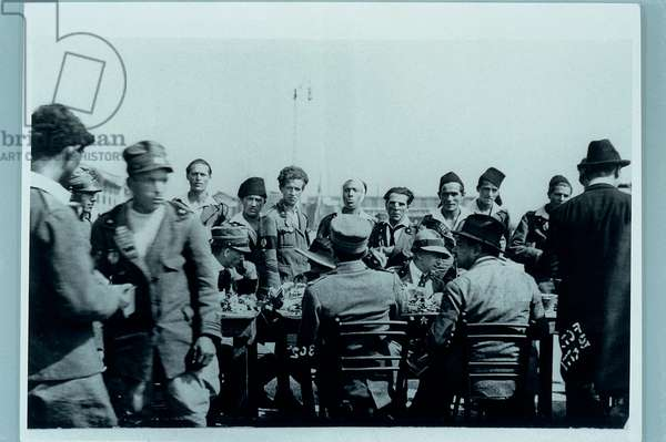 Gabriele d'Annunzio toasting with the Officers during the Occupation of Fiume, 1920 (photograph b/w)