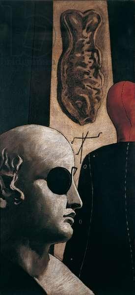The Nostalgia of the Poet (La nostalgia del poeta), by Giorgio de Chirico, 1914, 20th Century, oil and charcoal on canvas, 89,7 x 40,7 cm