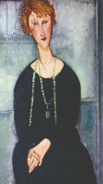 Woman with a Green Necklace - Portrait of M.me Menier, by Amedeo Modigliani, 1918, 20th Century, oil on canvas, 92 x 54 cm