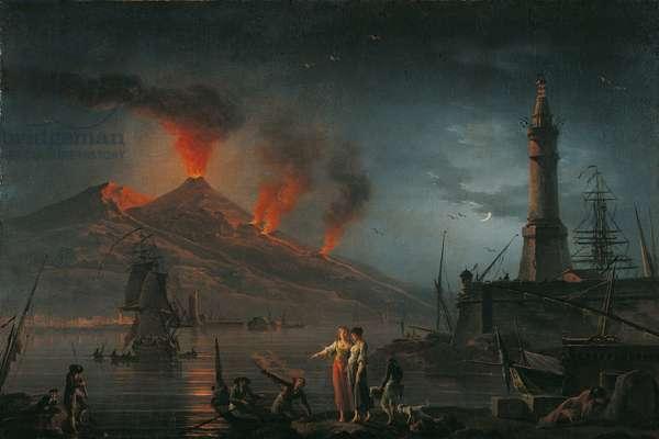 Eruption of Vesuvius (Eruzione del Vesuvio), by Charles Francois Lacroix de Marseille, 18th century (oil on canvas)