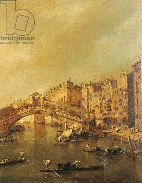 The Rialto Bridge and the Riva del Vin (Venice), (oil on canvas)