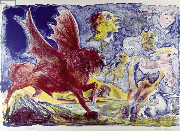 Chimeras (Le chimere), by Aligi Sassu, 1965, 20th Century, color lithography, 470 x 695 mm