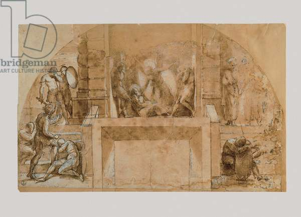 Liberation of St Peter from Prison, 1483-1520 (pen, black pencil, brown watercolor, white lead, white paper)