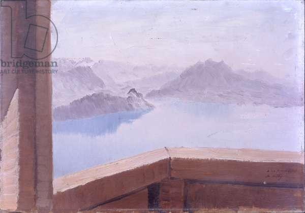 Mountains and Lakes (Monti e laghi), by Giuseppe De Nittis, 1881, 19th Century, oil on canvas, 21 x 41 cm
