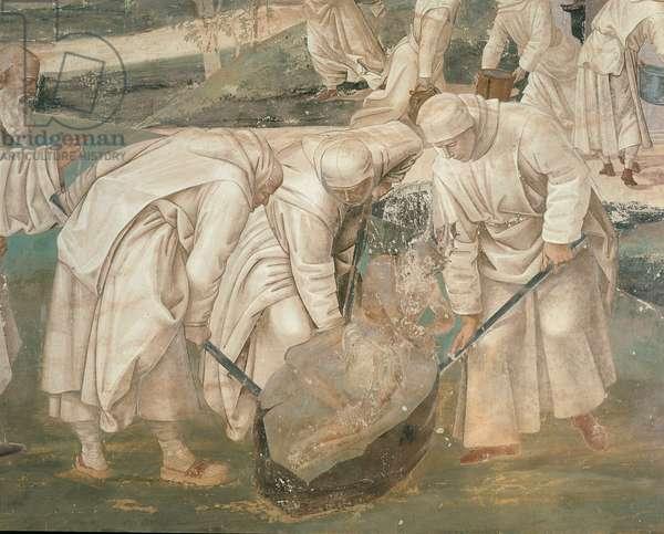 Benedict Pushing the Enemy on the Stone, 1498 (fresco)