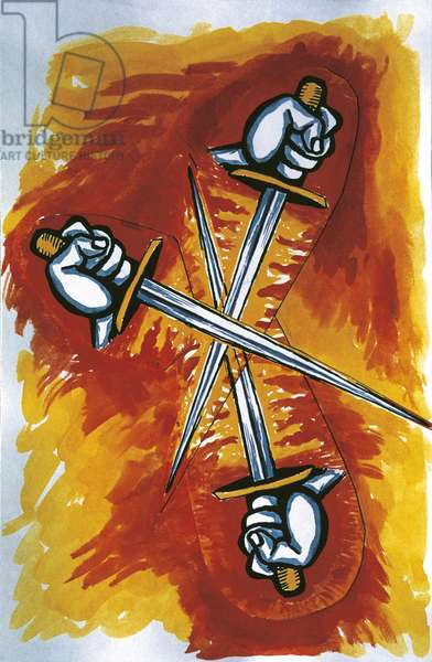 Tarot Card, by Renato Guttuso, 1972, 20th Century, Casa Editrice La Trace Modenese, print run 250 copies, 12.5 x 19 cm