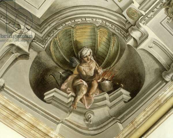 Putto Warming his Hands close to a Fire (Putto che si scalda le mani al fuoco), 18th Century, fresco