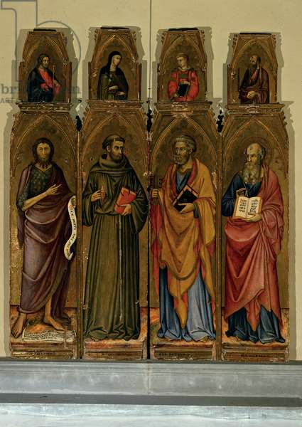 Polyptych with Four Saints, (tempera on panel with gold ground)