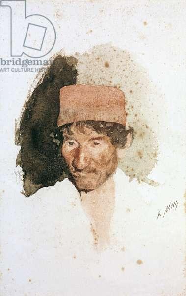 Head of a Man (Testa di uomo), by Giuseppe De Nittis, 1871, 19th Century, watercolor on paper, 22 x 15 cm