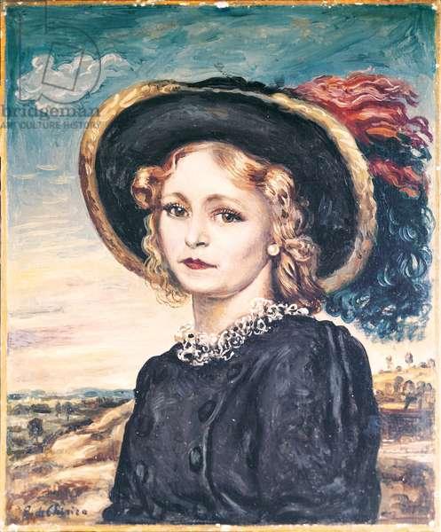 Lady with Plumed Hat (Signora con cappello piumato), by Giorgio de Chirico, 1942, 20th Century, oil on canvas, 60 x 50 cm