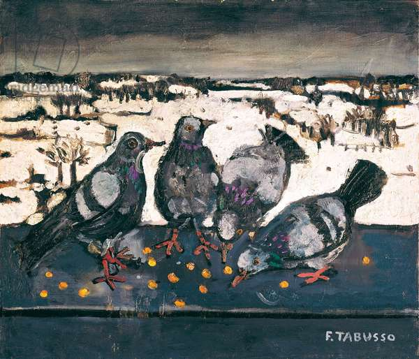 Hungry Pigeons, c.1960 (oil on canvas)