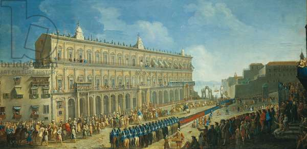 The Turkish Ambassade at the Royal Palace (L'ambasciata turca a Palazzo Reale), by Pietro Fabris, 18th century (oil on canvas)