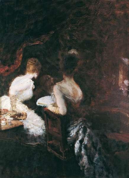 In the World (Dans le monde), by Giuseppe De Nittis, 1883, 19th Century, oil on board, 33 x 25 cm