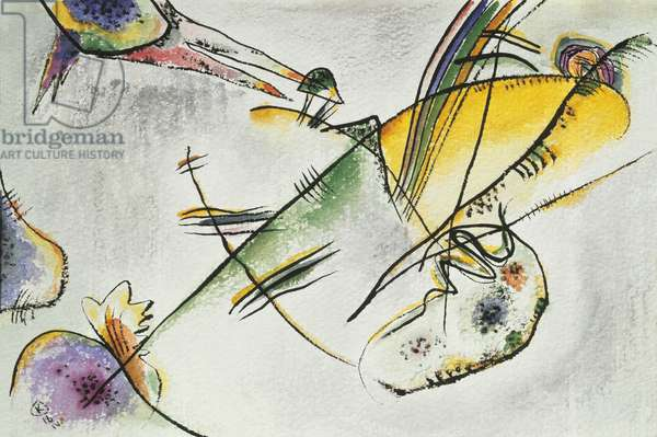 Composition B, by Wassily Kandinsky, 1916, 20th Century, watercolor and ink on paper, 20.8 x 30.6 cm