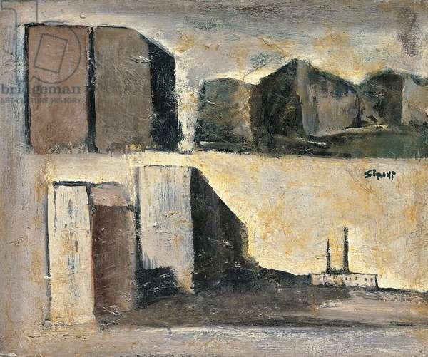Composition of urban landscapes (Composizione di paesaggi urbani) (oil on canvas)
