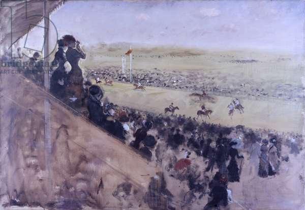 Longchamps Races (Le corse di Longchamps), by Giuseppe De Nittis, 1883, 19th Century, oil on canvas, 117 x 80 cm