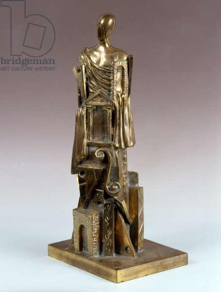 The Great Metaphysical (Il grande metafisico), by Giorgio De Chirico, 1970, 20th century  (golden bronze)